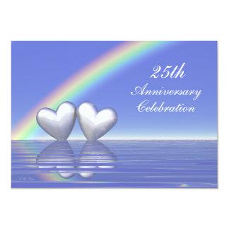 25th Anniversary Silver Hearts Card