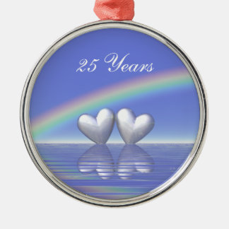 25th Anniversary Silver Hearts Christmas Ornament