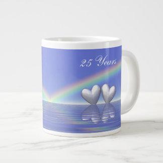 25th Anniversary Silver Hearts Giant Coffee Mug