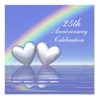 """25th Anniversary Silver Hearts 5.25"""" Square Invitation Card"""