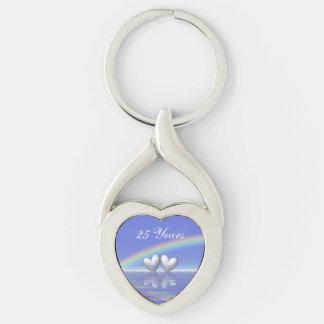 25th Anniversary Silver Hearts Key Ring