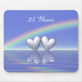 25th Anniversary Silver Hearts Mouse Mat