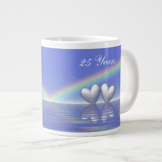25th Anniversary Silver Hearts Extra Large Mugs