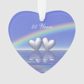 25th Anniversary Silver Hearts Ornament
