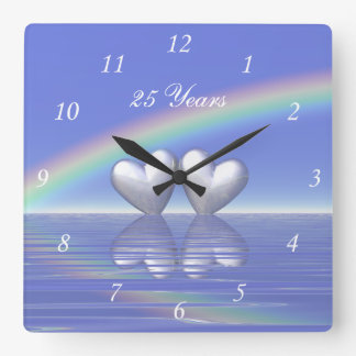 25th Anniversary Silver Hearts Square Wall Clock