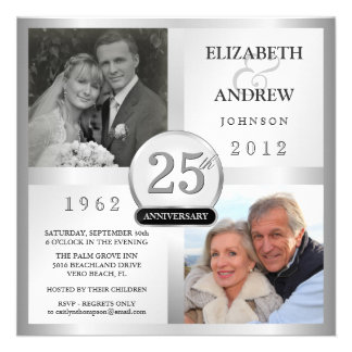 25th Anniversary Silver Invitations with 2 Photos