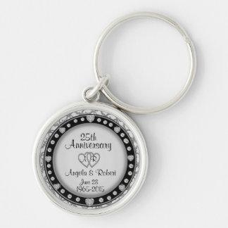 25th Anniversary Silver Keychain