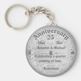 25th Anniversary Silver Monogram Key Ring