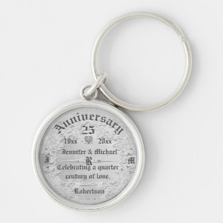 25th Anniversary Silver Monogram Key Ring