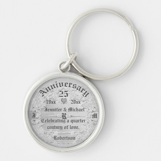 25th Anniversary Silver Monogram Silver-Colored Round Key Ring