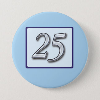 25th Anniversary Silver Number on Blue 7.5 Cm Round Badge