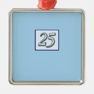 25th Anniversary Silver Number on Blue Christmas Ornament