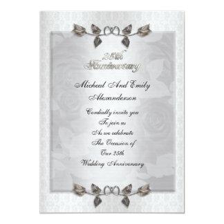 """25th anniversary silver roses invitation 5"""" x 7"""" invitation card"""