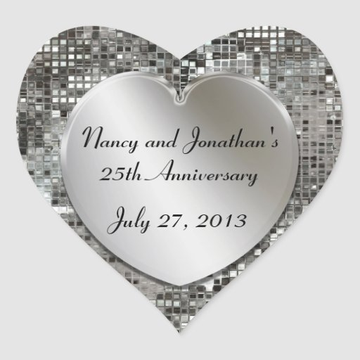 25th Anniversary Silver Sequins Hearts Stickers