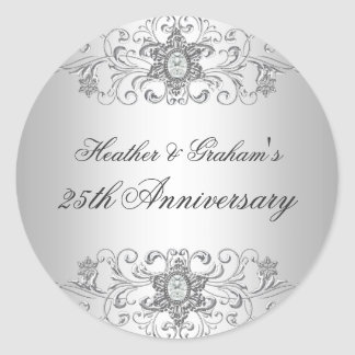 25th Anniversary Silver White Diamond Sticker