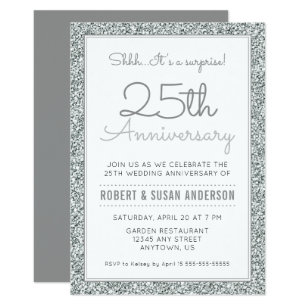 25th Anniversary Surprise | Faux Silver Glitter Invitation