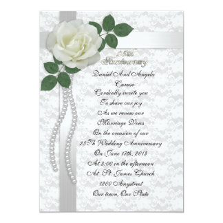 25th Anniversary vow renewal Invitation White rose