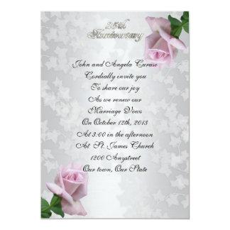25th Anniversary vow renewal lavender roses 13 Cm X 18 Cm Invitation Card