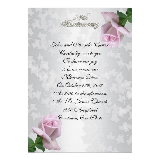 25th Anniversary vow renewal lavender roses Announcements
