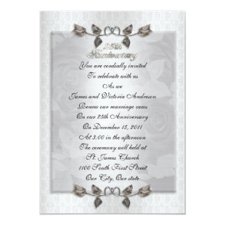 25th anniversary Vow renewal silver roses formal 13 Cm X 18 Cm Invitation Card