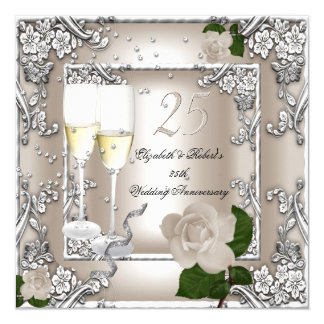 25th Anniversary Wedding Cream Rose Silver 13 Cm X 13 Cm Square Invitation Card