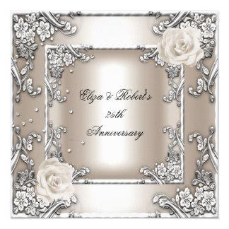 25th Anniversary Wedding Cream Rose Silver Party 13 Cm X 13 Cm Square Invitation Card