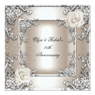 25th Anniversary Wedding Cream Rose Silver Party Invitations