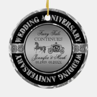 25th Anniversary-Wedding Horse & Carriage Round Ceramic Decoration