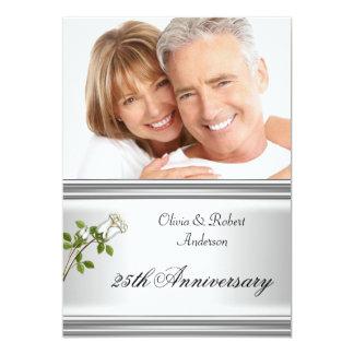 25th Anniversary Wedding Silver White Rose 5x7 Paper Invitation Card