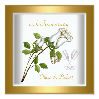 25th Anniversary White Rose Cream Gold Rings Personalized Invitations