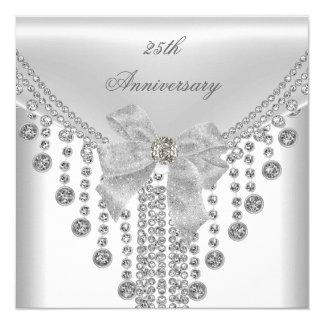 25th Anniversary White Silver Overlay Bow Jewel 13 Cm X 13 Cm Square Invitation Card