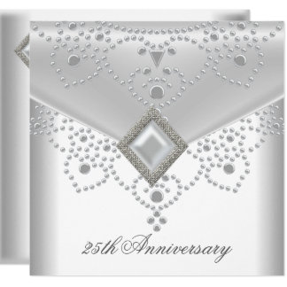 25th Anniversary White Silver Overlay Pearl Jewel Card