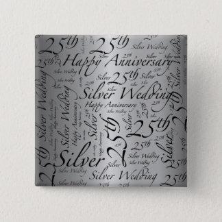 25th Anniversary Word Art 15 Cm Square Badge