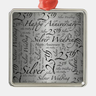25th Anniversary Word Art Graphic Christmas Ornament