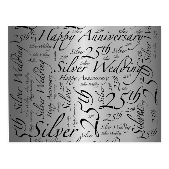 25th Anniversary Word Art Graphic Postcard