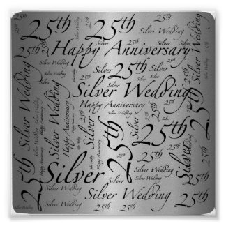 25th Anniversary Word Art Graphic Poster