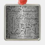 25th Anniversary Word Art Graphic Silver-Colored Square Decoration