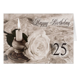 25th Birthday card with an antique rose