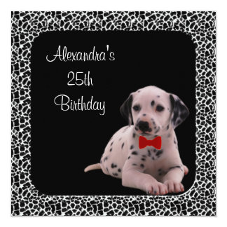 25th Birthday Dalmation & Animal Print Frame Card