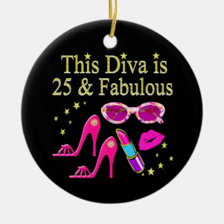 25TH BIRTHDAY FABULOUS DIVA DESIGN CHRISTMAS ORNAMENT