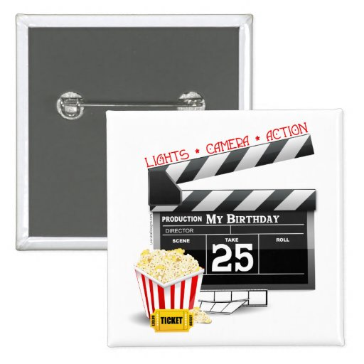25th Birthday Hollywood Movie Party Pin