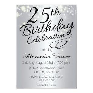 25th Silver Birthday Invitations