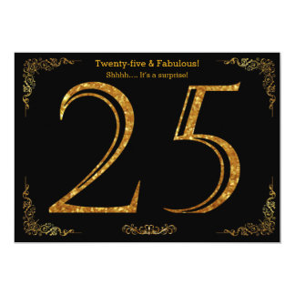25th Birthday party,Gatsby styl,black gold glitter 13 Cm X 18 Cm Invitation Card
