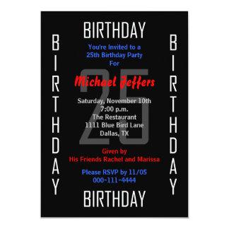"25th Birthday Party Invitation - 25 5"" X 7"" Invitation Card"