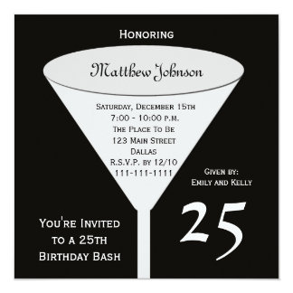 25th Birthday Party Invitation 25th Birthday Bash