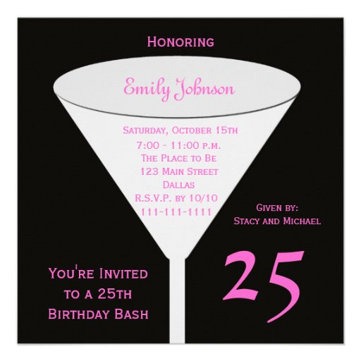 25th Birthday Party Invitation -- 25th Toast