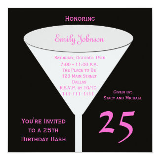 25th Birthday Party Invitation 25th Toast