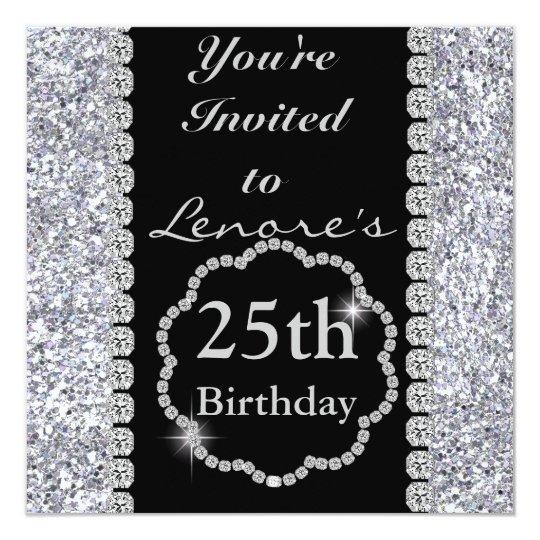 25th Birthday Party Invitation DIAMONDS & SPARKLES
