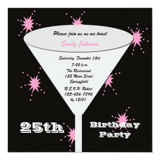"25th Birthday Party Invitation -- Pink 25th Toast 5.25"" Square Invitation Card"
