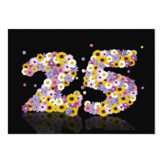 25th Birthday party, with flowered letters Custom Invitation